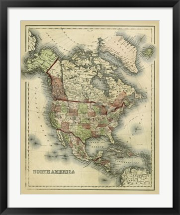 Framed Antique Map of North America Print