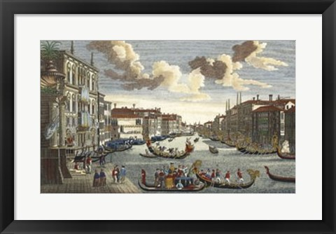 Framed Venice Canal and Gondola Race Print