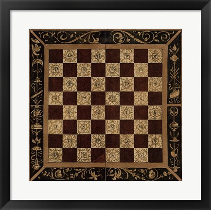 Framed Antique Gameboard I Print