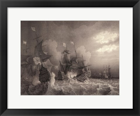 Framed Ships at Sea I Print