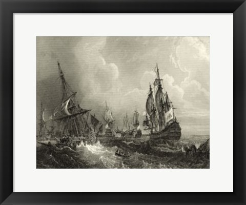 Framed Ships at Sea II Print