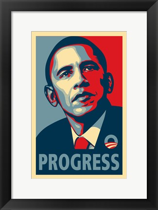 Framed RARE Obama Campaign Poster - PROGRESS Print