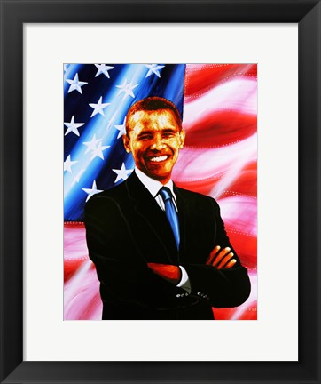 Framed Barack Obama - painting Print