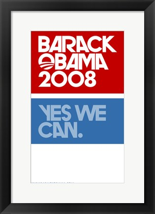 Framed Barack Obama - (Yes We Can Logo) Campaign Poster Print