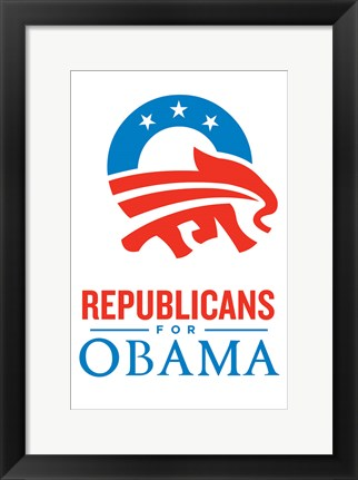 Framed Barack Obama - (Republicans for Obama) Campaign Poster Print