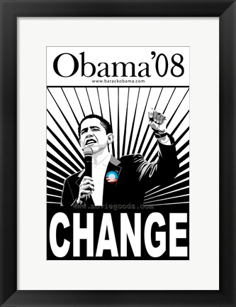 Framed Barack Obama - (Change, Black and White) Campaign Poster Print
