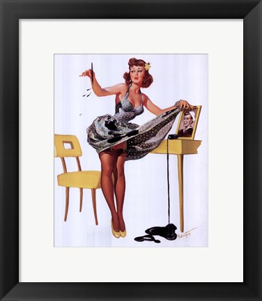 Framed Pin-Up Girl with Inkstains Print