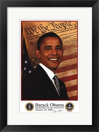 Framed Barack Obama - Inauguration 2009 With Presidential Seals Print