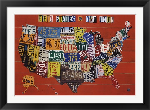 Framed Fifty States, One Nation Print