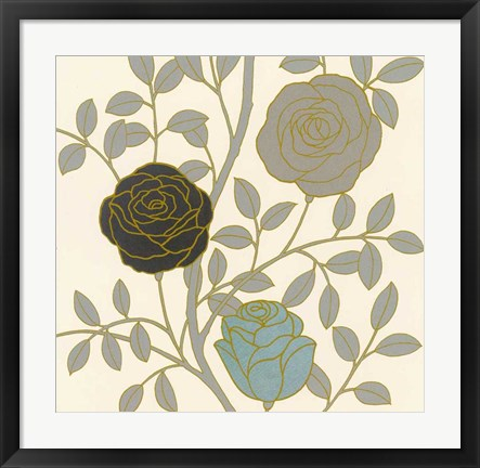 Framed Rose Garden I Gold Print