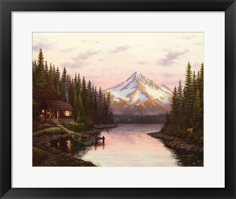 Framed High Mountain Cabin Print
