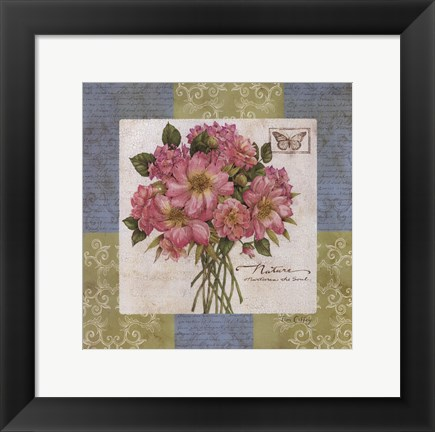 Framed Flowers on Blue II Print