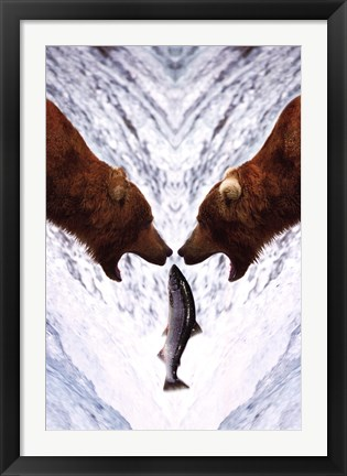 Framed Two Bears For One Fish Print