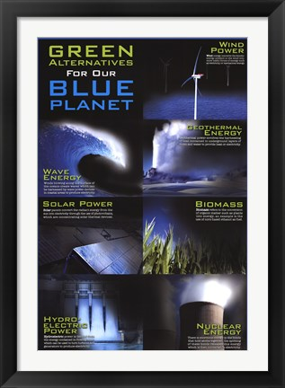 Framed Green Alternative For Our Blue Planet Print