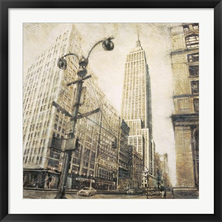 Framed Empire State Building from Madison Ave. Print