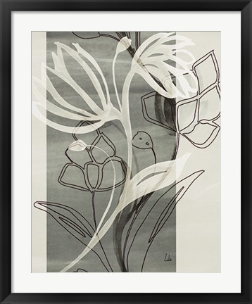 Framed Petal Silhouettes 1 Print