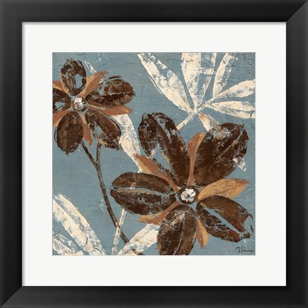 Framed Flowers on Denim III Print
