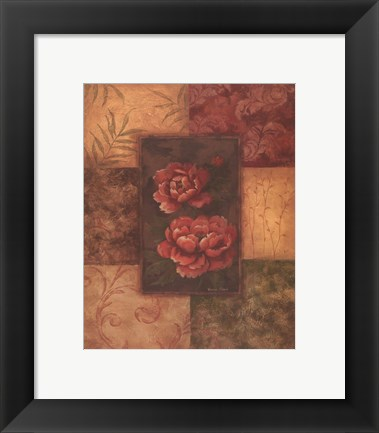 Framed Peonies on Chocolate Print