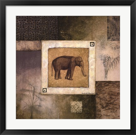 Framed Elephant Woodcut Print