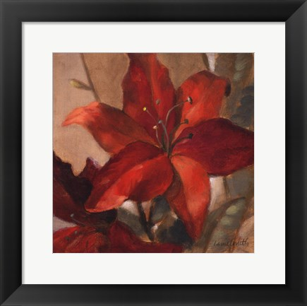 Framed Crimson Fleurish II Print