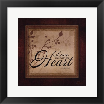 Framed Love See With The Heart Print
