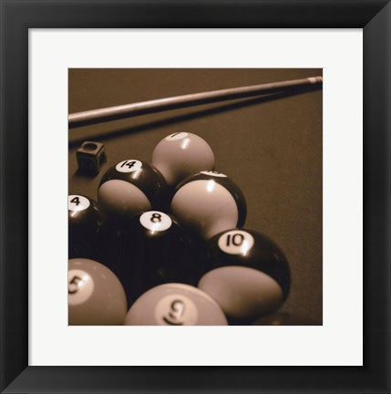 Framed Pool Table II - Sepia Print