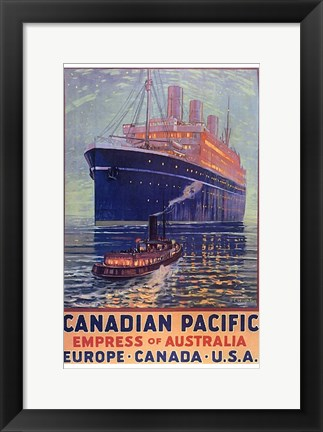 Framed Canadian Pacific - Empress of Australia Print