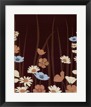 Framed Chocolate Daisy Meadow Print
