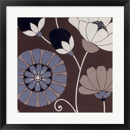 Framed Chocolate Retro Floral Print