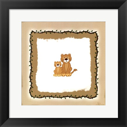 Framed Lion Cubs Print