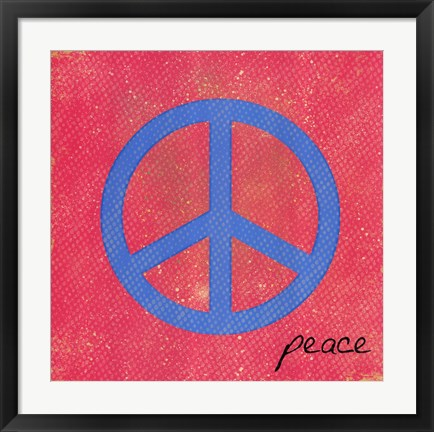 Framed Peace - Blue and Pink Print