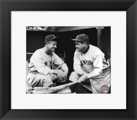 Framed Lou Gehrig & Babe Ruth Posed Print