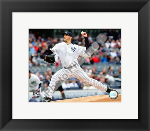 Framed Andy Pettitte 2009 Pitching Action Print