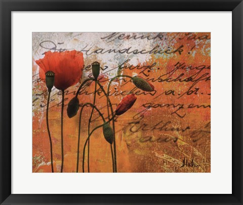 Framed Poppies Composition I Print