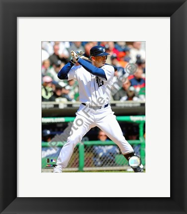 Framed Carlos Guillen 2009 Batting Action Print