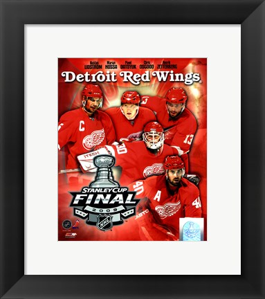 "Framed '09 St. Cup - Red Wings ""Big 5"" Print"