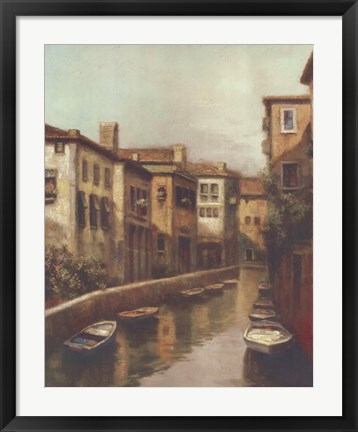 Framed Waterways At Dawn Print
