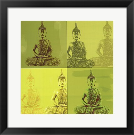 Framed Buddha - green Print