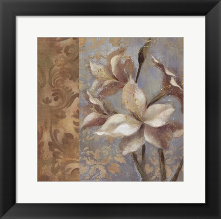 Framed Amaryllis on Soft Blue Print