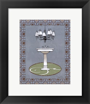 Framed Chandelier Bath I Print