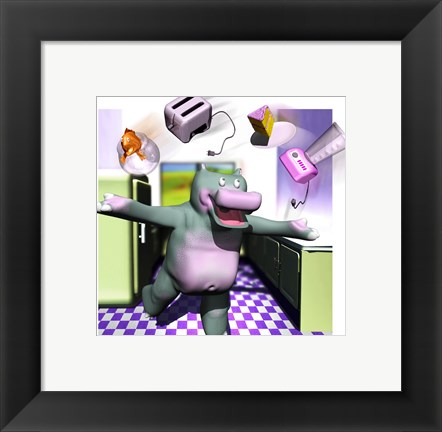 Framed Kitchen Hippo Print