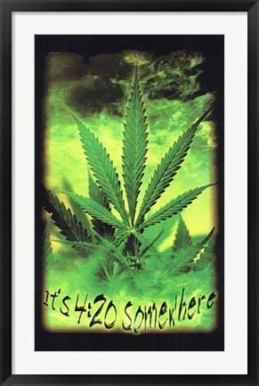 Framed Black Light - Marijuana - It's 4:20 Somewhere Print