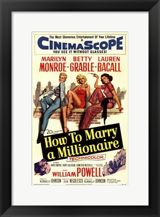 Framed How to Marry a Millionaire, c.1953 - style C Print