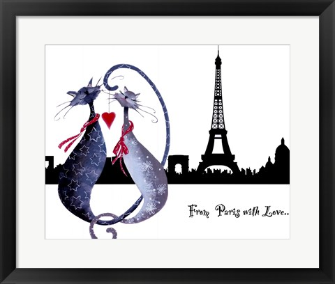 Framed From Paris with Love Catitudes Print