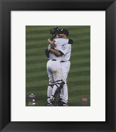 Framed Jorge Posada & Mariano Rivera Game Six of the 2009 ALCS Celebration Print