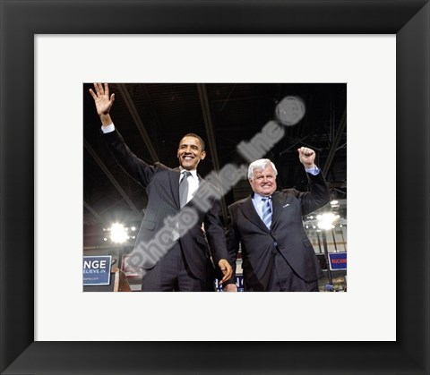 Framed U.S. Senator Edward Kennedy & Senator Barack Obama at a 2008 Campaign Rally Print