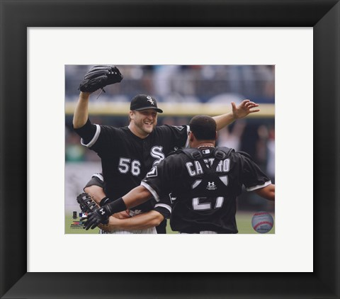 Framed Mark Buehrle '09 Perfect Game celebration w/ Castro Print