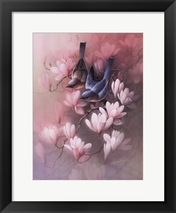 Framed Birds with Blossoms Print
