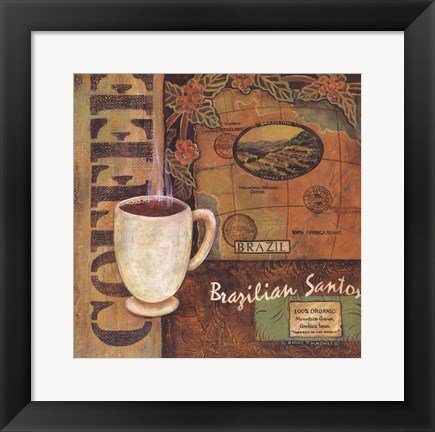 Framed Coffees of the World - Brazil Print