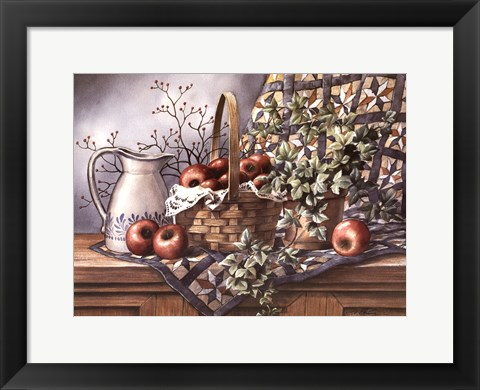 Framed Quilt, Pitcher and Apples Print